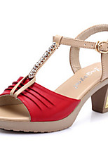 Women's Shoes Sandals Leatherette Rhinestone Chunky Heel Office & Outdoor & Casual &Dress More Colors