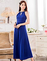 Ankle-length Chiffon / Polyester Bridesmaid Dress - Royal Blue / Black A-line Jewel
