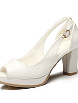 Women's Shoes Chunky Heel Peep Toe / Platform Sandals Office & Career / Dress / Casual Black / Pink / White