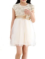 Girl's White / Beige Dress,Bow Cotton Summer / Spring