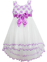 Girl's Purple Flower Tulle  Party Pageant Bridesmaid Wedding Kids Clothes Dresses