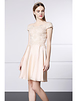 Cocktail Party Dress - Champagne A-line Scoop Short/Mini Lace / Satin