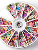 Mix Simulated Pearl Fimo Flower Accessories Nail Decorations Wheel 1200PCS Mix Manicure Accessories Wheel