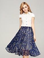 Women's Polka Dot Blue Skirts,Holiday Midi