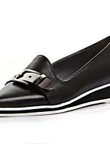 Zapatos de mujer-Tacón Bajo-Puntiagudos-Planos-Casual-Cuero-Negro