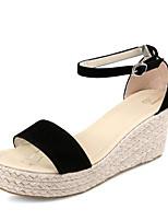 Women's Shoes Fleece Wedge Heel Wedges / Comfort / Ankle Strap / Open Toe Sandals Dress / Casual Black / Beige