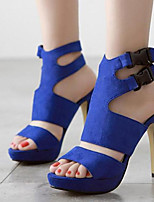 Women's Shoes Fleece Stiletto Heel Open Toe Sandals Party & Evening / Dress Black / Blue