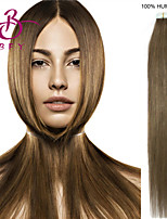 Tape In Human Hair Extension #08 color 20pcs Remy Brown Brazilian Virgin Straight Skin Weft Hair Extensions