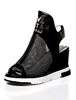 Women's Shoes Cowhide Wedge Heel Peep Toe / Slingback Sandals Casual Black / White