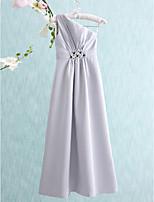 Floor-length Satin Junior Bridesmaid Dress-Silver Sheath/Column One Shoulder