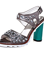 Women's Shoes Chunky Heel Peep Toe Sandals Office & Career / Dress / Casual White / Silver