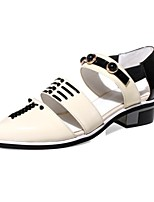 Women's Shoes Cowhide / Leather Low Heel Pointed Toe Sandals Casual Red / Almond