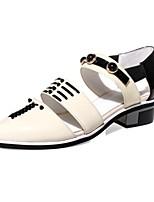 Zapatos de mujer-Tacón Bajo-Puntiagudos-Sandalias-Casual-Cuero-Rojo / Almendra