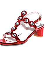 Women's Shoes Cowhide Chunky Heel Slingback / Toe Ring Sandals Casual Blue / Red / Silver