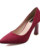 Women's Shoes Suede Chunky Heel Heels / Pointed Toe / Closed Toe Heels Dress Black / Gray / Burgundy
