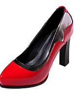 Damenschuhe-High Heels-Lässig-Schweineleder-Stöckelabsatz-Absätze-Schwarz / Rot / Weiß