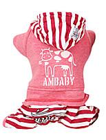 Manteaux / Combinaison-pantalon-Chien-Hiver-Rouge / Gris-Mode / Garder au chaud Rayure- enCoton