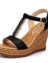 Women's Shoes Leatherette Wedge Heel Wedges / Peep Toe Sandals Office & Career / Dress / Casual Black / Gold
