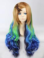 mode bande dessinée couleur longue perruque frisée perruques de cheveux de couleur