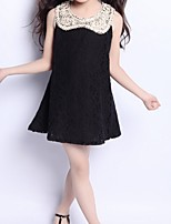 Girl's Black / White Dress,Lace Polyester Summer / Spring