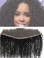 brasileño virginal de cierre frontal del cordón del pelo humano libre 13x4 parte frontal Afro rizado rizado cierre de encaje nudos
