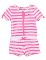 Girl's Pink Dress,Stripes Cotton Summer