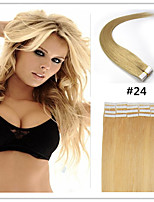 Tape In Human Hair Extension #24 Medium blonde color 20pcs Remy  Brazilian Virgin Straight Skin Weft Hair Extensions