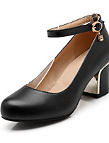 Women's Shoes Chunky Heel Heels / Round Toe Heels Office & Career / Dress / Casual Black / Pink / Red / White