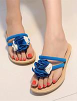 Damenschuhe-Sandalen / Pantoffeln-Outddor / Lässig-Kunstleder-Flacher Absatz-Komfort-Schwarz / Blau / Weiß