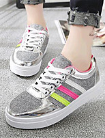 Women's Shoes Leatherette Flat Heel Comfort Fashion Sneakers Outdoor / Athletic Black / Silver