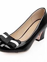 Women's Shoes Patent Leather Summer /Round Toe Heels Office & Career / Casual Chunky Heel BowknotBlack / Green / Pink /