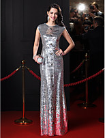 TS Couture® Formal Evening Dress-Silver Sheath/Column Jewel Floor-length Sequined