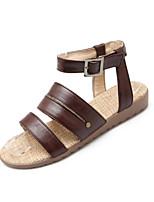 Chaussures Femme-Extérieure / Habillé / Décontracté-Noir / Marron / Beige-Talon Plat-Bout Ouvert-Sandales-Similicuir