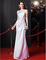 TS Couture® Formal Evening Dress-Silver Sheath/Column One Shoulder Floor-length Stretch Satin