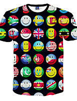 Tee-Shirt Décontracté Pour des hommes Manches Courtes A Motifs Polyester