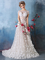 Formal Evening Dress - Ivory A-line Jewel Court Train Lace / Tulle