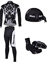 CHEJI Men's Cycling Long Sleeves Sets & Pirate Hat + Shoe Cover