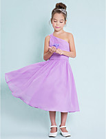 Tea-length Chiffon Junior Bridesmaid Dress-Lilac A-line One Shoulder