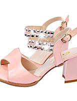Women's Shoes Leatherette Chunky Heel Peep Toe Sandals Casual Blue / Pink / White