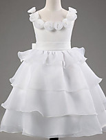 Girl's White Dress,Solid Rayon Summer / Spring / Fall