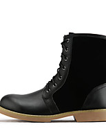 Women's Shoes Nappa Leather Flat Heel Combat Boots Boots Outdoor Black