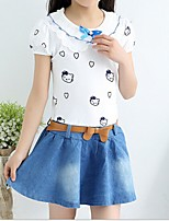 Girl's White Dress,Cartoon Polyester Summer / Spring