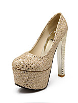 Women's Shoes Customized Materials Chunky Heel Heels Heels Wedding / Office & Career / Dress Silver / Gold