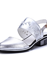 Women's Shoes Cowhide Low Heel Slingback / Pointed Toe Flats Casual Silver / Taupe