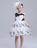 Girl's Pink / White Dress , Floral Cotton Spring