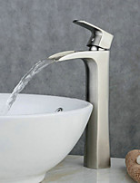 Contemporary Centerset Waterfall with Ceramic Valve Single Handle One Hole for Nickel Brushed  Bathroom Sink Faucet