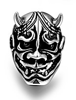 New US Size 8-11 Punk Skull With Horn 316L Stainless Steel Mens Rings Silver Color Ring Men Jewelry