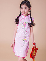 Girl's Pink / Red Dress Rayon Summer