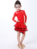 Latin Dance Dresses Children's Performance Lace Lace 1 Piece Black / Red