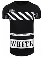 Polyester-Print / Kleurenblok-Heren-T-shirt-Informeel-Korte mouw